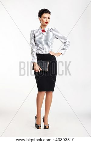 Cute Business Woman Portrait Isolated Over White Background