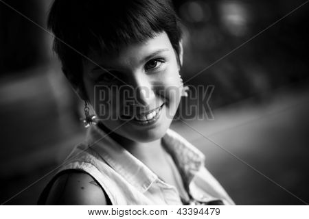 Young beautiful woman portrait in black a white.