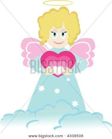 Cartoon-Figur der kleine Engel mit Herz