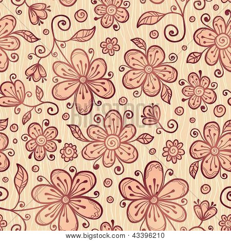 Ornate vector doodle flowers background