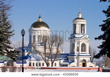 Pokrovsky Cathedral in winter of Voronezh in Russia
