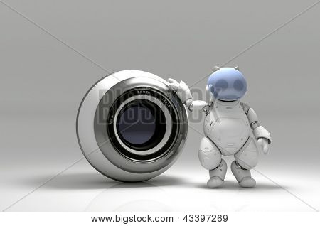 Webcam and  robot  on a white background