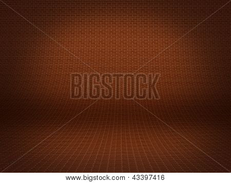 Realistic 3D Presentation Floor Surface With Brick Background Texture