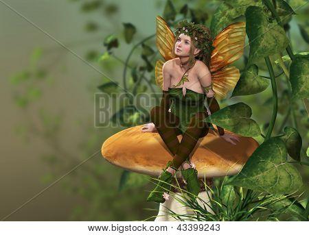 Pixie auf einem Pilz