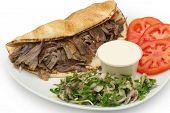 stock photo of shawarma  - Shawarma Doner Kebab on a plate isolated on a white background - JPG