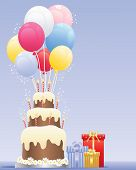 picture of three tier  - an illustration of a birthday cake with three tiers striped candles cream frosting and colorful balloons next to wrapped gifts on a blue background with space for text - JPG
