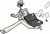image of gullible  - Running businessman with open briefcase and loose papers - JPG