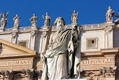 Statue Of Apostle Paul With A Sword In St. Peter's Square, Rome