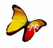 Bhutan Flag Butterfly Flying, Isolated On White Background