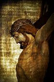 pic of golgotha  - Jesus Christ on the Holy Cross on a vintage background - JPG