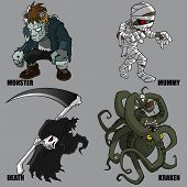 stock photo of kraken  - 4 Graphic vector set of mythical creatures - JPG