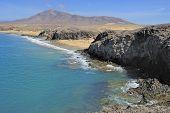 stock photo of papagayo  - view of coast of Playa de Papagayo Lanzarote Island Canary Islands Spain - JPG