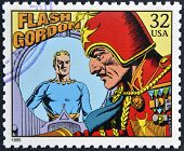 A stamp printed in USA dedicated to comic strip classics shows Flash Gordon