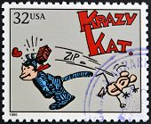 stamp printed in USA dedicated to comic strip classics shows Krazy Kat
