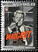 stamp printed in Belgium shows Jules Maigret Inspector French police created by Georges Simenon