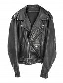 Vintage Leather biker jacket isolated on white