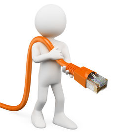 foto of cat5  - 3d white person connecting an RJ45 cable to the network - JPG