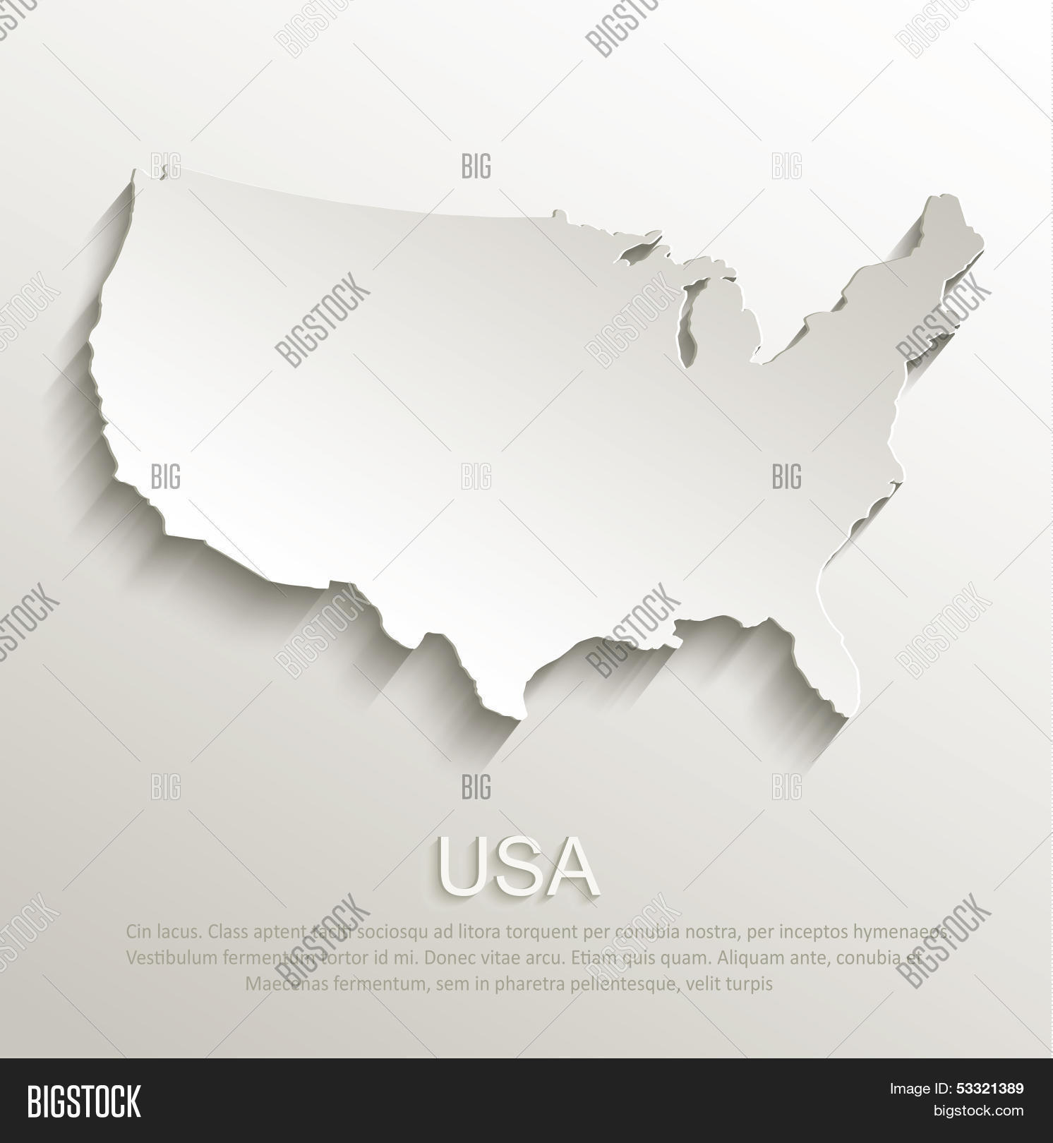 USA Map Card Paper D Natural Vector Stock Vector Stock Photos - Large image map of us vector labels