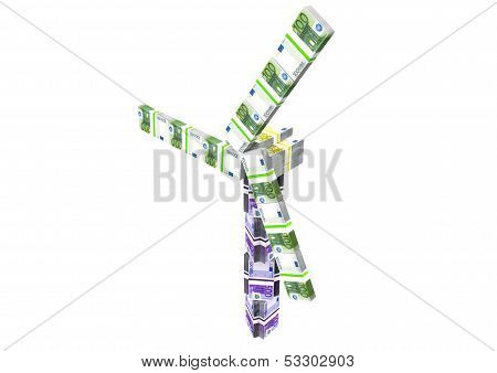 A Windmill Made Of Euro Notes
