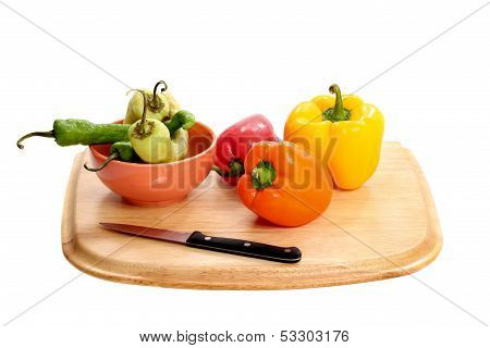 bell peppers and cutting board