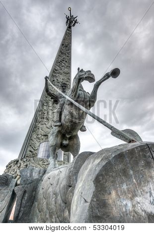 Saint George Slaying A Dragon By Poklonnaya Hill Obelisk
