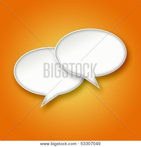 3D White Chat Bubbles On Orange Background