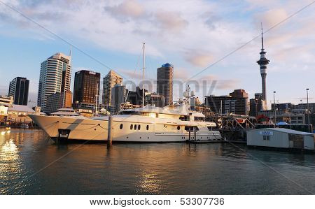 Luxury yacht at waterfront in Auckland, New Zealand