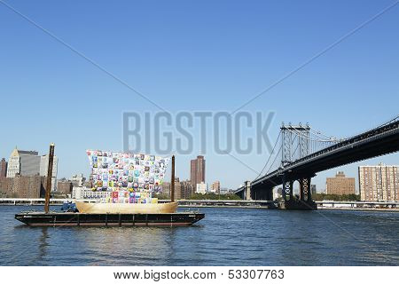 Ship of Tolerance in the front of Manhattan Bridge  during Dumbo Arts Festival 2013 in Brooklyn