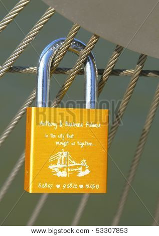 Love lock at the Brooklyn Bridge