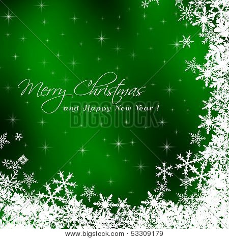 Christmas card with gree background
