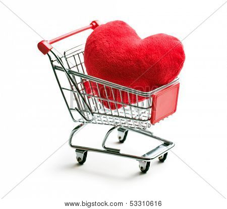 furry heart in shopping cart on white background