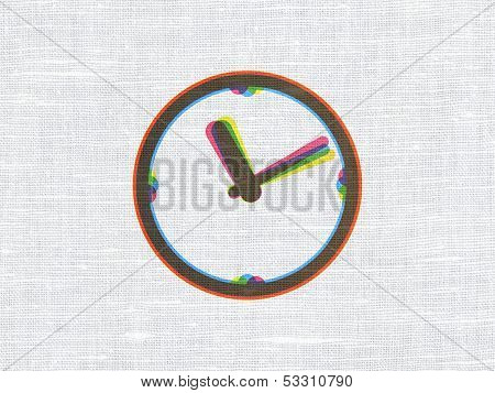 Timeline concept: Clock on fabric texture background