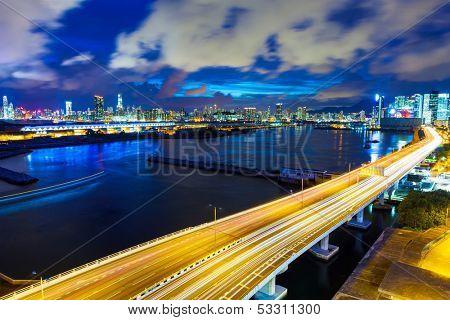 Hong Kong city with highway at night