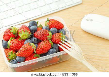 Berry mix lunch box at office