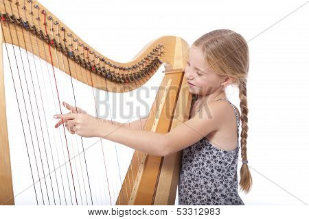 Young Girl In Blue Playing Harp