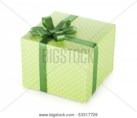 Green gift box with ribbon and bow. Isolated on white background