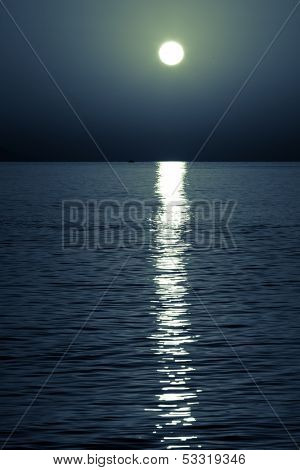reflection of the moon on the sea surface. moonlit path