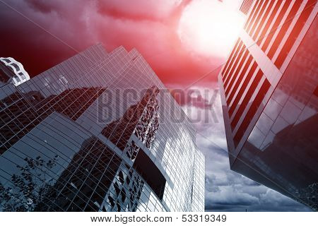 meteor in the sky over skyscrapers, apocalyptic concept