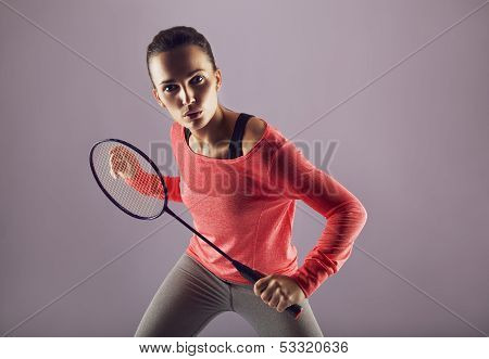 Beautiful Girl Playing Badminton