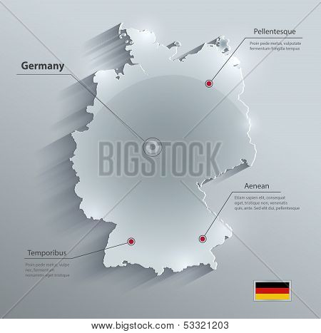 Germany map glass card paper 3D vector
