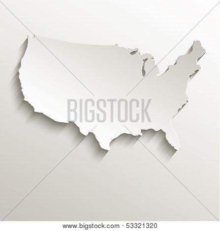 USA map card paper 3D natural raster
