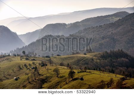 Mountain Autumn Landscape In Bucegi Mountains, Romania