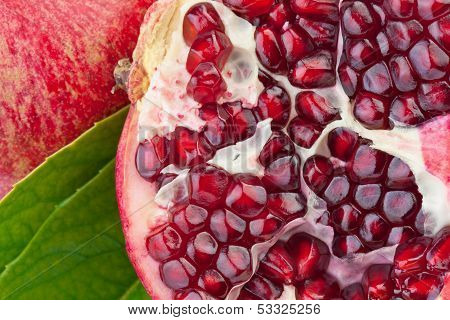 pomegranate fruit in close up