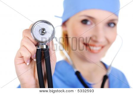Happy Surgeon With Stethoscope