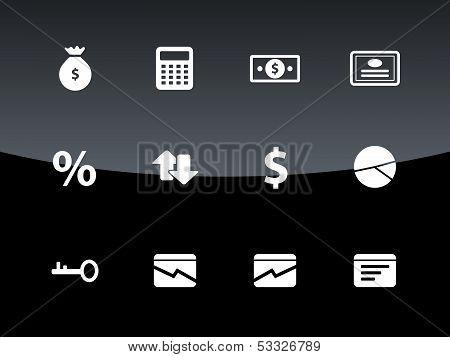 Economy icons on black background.