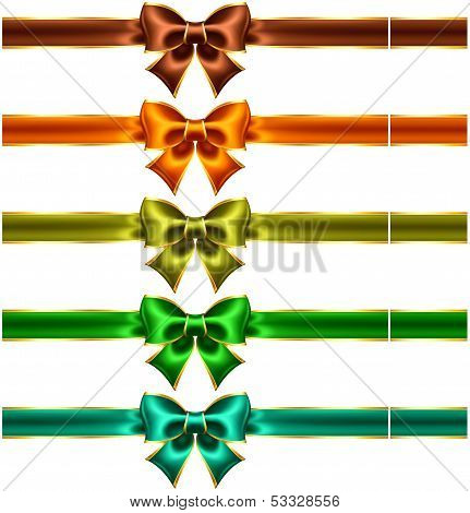 Holiday Bows With Gold Edging And Ribbons