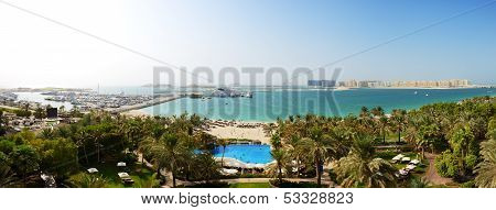 Panorama Of Beach With A View On Jumeirah Palm Man-made Island, Dubai, Uae