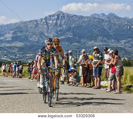 The Cyclists Lieuwe Westra And Juan Jose Oroz