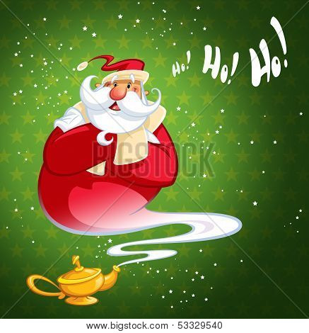 Happy Laughing Cartoon Genie Santa Claus Coming Out Of A Magic Oil Lamp