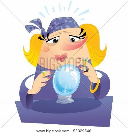 Blonde Woman Fortuneteller With Crystal Ball Predicting The Future